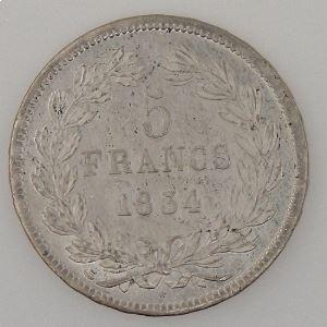 France, Louis-Philippe I, 5 Francs 1834 D, TTB+, KM# 749.4