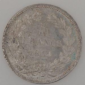 France, Louis-Philippe I, 5 Francs 1834 H, TTB+, KM# 749.5