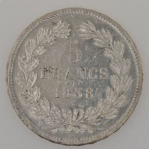 France, Louis-Philippe I, 5 Francs 1838 W, TTB+, KM# 749.13