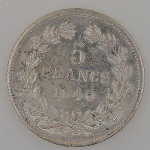 France, Louis-Philippe I, 5 Francs 1840 A, TTB+/SUP, KM# 749.1