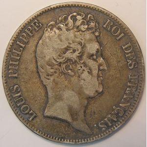 France, Louis-Philippe I sans le I, 5 Francs 1830 A, B+/TB, KM# 735.1