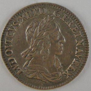 France, Louis XIII, 1/12 Ecu 1642 A rose , KM# 132.1, TTB