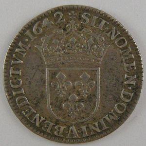 France, Louis XIII, 1/12ème Ecu 1642 A Rose, TTB, KM# 132.1
