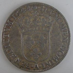 France, Louis XIV, 1/2 Ecu à la mèche courte 1644 A rose, TTB+, Gad: 168