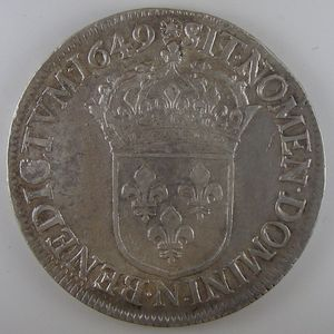 France, Louis XIV, Ecu à la mèche longue 1649 N, TTB+, Gad: 202