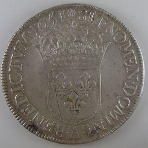 France, Louis XIV, Ecu à la mèche longue 1651 A, TB+/TTB, Gad: 202