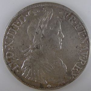 France, Louis XIV, Ecu à la mèche longue 1652 D, TTB+, Gad: 202