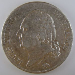 France, Louis XVIII, 5 Francs 1819 B, TTB, KM# 711.2