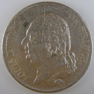 France, Louis XVIII, 5 Francs 1821 A, TTB, KM# 711.1