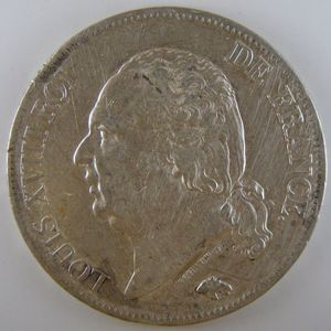 France, Louis XVIII, 5 Francs 1821 W, TTB, KM# 711.13