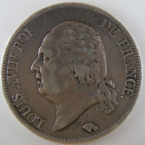 France, Louis XVIII, 5 Francs 1822 A, TTB, KM# 711.1