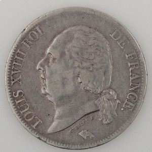 France, Louis XVIII, 5 Francs 1824 B, TB+, KM# 711.2