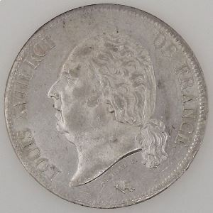 France, Louis XVIII, 5 Francs 1824 W, SUP, KM# 711.13