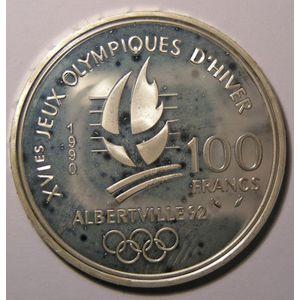 France, Patinage de vitesse, 100 Francs 1990 SPL, KM# 980