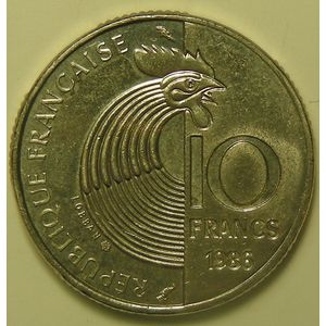 France , Schuman, 10 Francs 1986, SUP, KM#958