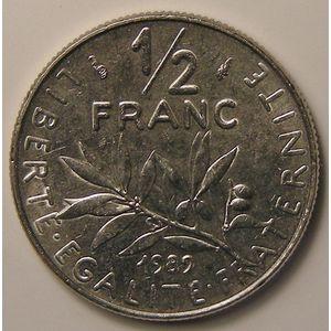 France, Semeuse, 1/2 Franc 1989 SPL, KM# 931.1