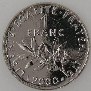 France, Semeuse, 1 Franc 2000, SPL++, KM# 925.1