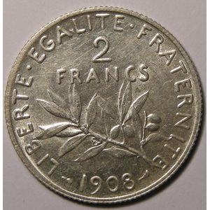 France, Semeuse, 2 Francs 1908, TTB/TTB+, Gad: 532