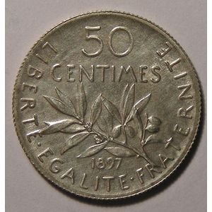 France, Semeuse, 50 centimes 1897, SUP, Gad: 420