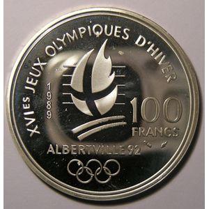 France, Ski alpin, 100 Francs 1989 SPL, KM# 971