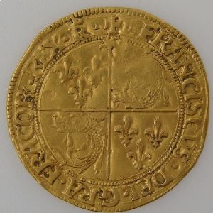 François 1er 1515-1547, Roi de France, Ecu d'or du Dauphiné, TTB, Dup: 788