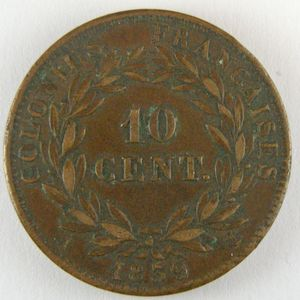 French Colonies, Louis-Philippe I, 10 Cent 1839 A, KM# 13, TTB