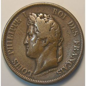 French Colonies, Louis-Philippe I, 10 Cent 1843 A, KM# 13, TB+