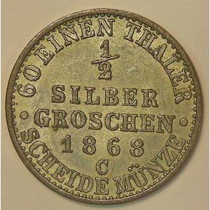 Germany, Preussen, 1/2 Silbergroschen 1868 C, TTB+/SUP, KM # 484