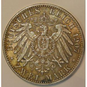 Germany , Baden, 2 Mark 1907 G, TTB+, KM# 272