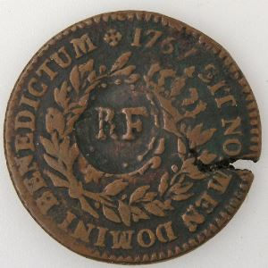Guadeloupe, 1/4 Escalin 1767, TB+, Lec: 4