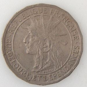 Guadeloupe, 50 Centimes 1921, TB+ Lec: 51