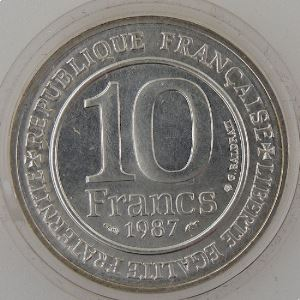 Hugues Capet, 10 Francs 1987, BU argent SPL, KM#961