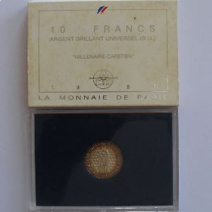 Hugues Capet, 10 Francs 1987, BU argent, KM# 961