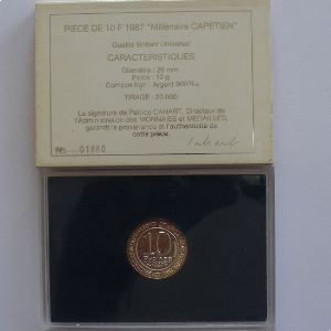 Hugues Capet , 10 Francs 1987, BU argent, KM#961