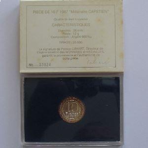 Hugues Capet, 10 Francs 1987, BU argent , KM#961
