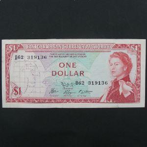 Iles Caraibes, 1 Dollar ND 1965, VF