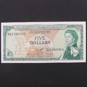 Iles Caraibes, 5 Dollars ND 1965, XF-UNC