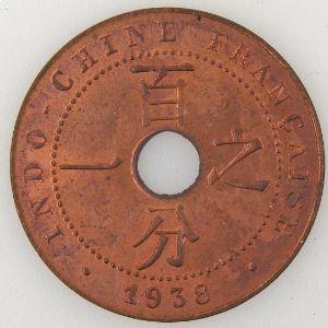 Indochine, 1 Cent 1938, SUP, Lec: 99