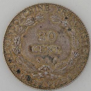 Indochine , 20 Cent 1901, TTB/TTB+, Lec: 204