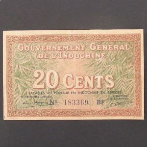 Indochine Française, 20 Cents ND 1939, XF