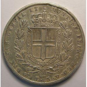 Italy, Sardinia, 5 Lire 1836 P, TB/TB+, KM#130.2