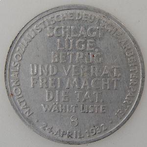 Jetons et Médailles, Allemagne, Germany, Médaile de propagande, 24 April 1932 SUP