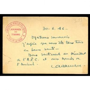 Journée du Timbre 1946 - CHALON SUR SAONE - La Rue aux Fèvres et la Cathédrale St Vincent