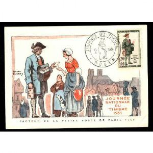 Journée du Timbre 1961 - ROUEN - Facteur de la Petite Poste de Paris 1760