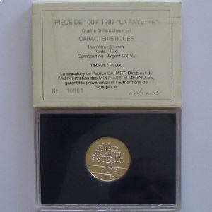 La Fayette, 100 Francs 1987, BU argent, KM#962