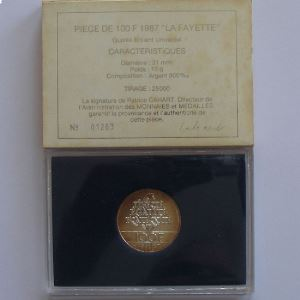 La Fayette, 100 Francs 1987, BU argent , KM#962