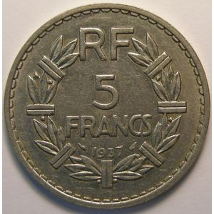 Lavrillier Nickel, 5 Francs 1937, TTB/TTB+, Gadoury 760