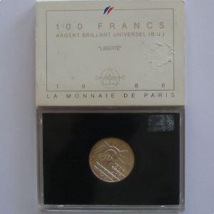 Liberté, 100 Francs 1986, BU argent, KM#960
