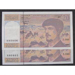 Lot de 2 x 20 Francs Debussy 1997, Z.060, SPL