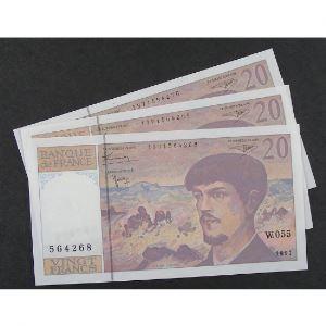 Lot de 3 x 20 Francs Debussy 1997, W.055, SPL